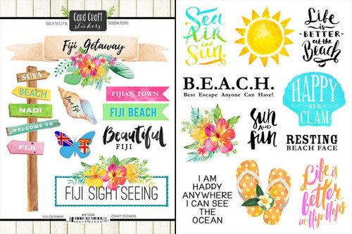 Getaway Collection Fiji 6 x 8 Double-Sided Scrapbook Sticker Sheet by Scrapbook Customs