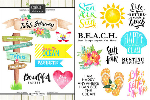 Getaway Collection Tahiti 6 x 8 Double-Sided Scrapbook Sticker Sheet by Scrapbook Customs