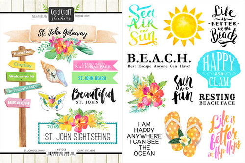 Getaway Collection St. John 6 x 8 Double-Sided Scrapbook Sticker Sheet by Scrapbook Customs
