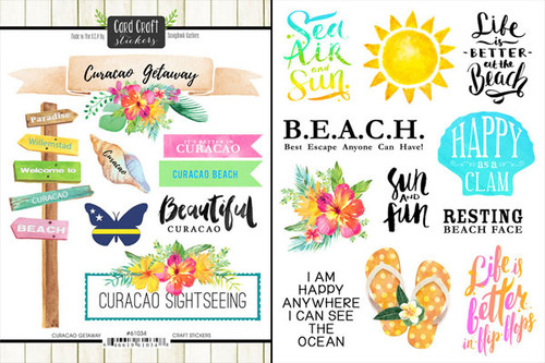 Getaway Collection Curacao 6 x 8 Double-Sided Scrapbook Sticker Sheet by Scrapbook Customs