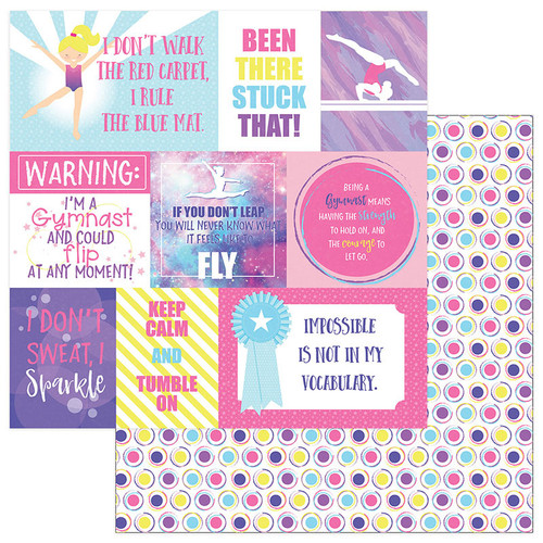 I Love Gymnastics Collection Gymnast Cards 12 x 12 Double-Sided Scrapbook Paper by PhotoPlay