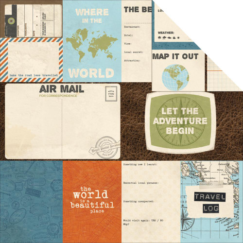 Wanderlust Collection Unknown 12 x 12 Double-Sided Scrapbook Paper by Kaisercraft