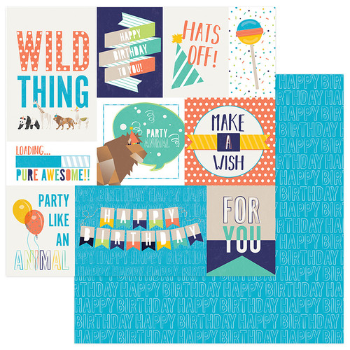 Cake Collection Party Animal Wild Thing 12 x 12 Double-Sided Scrapbook Paper by Photo Play Paper