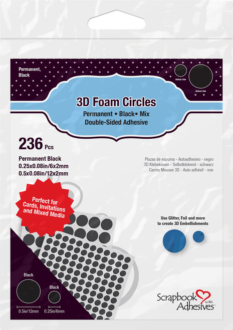 3D Foam Circles Permanent Black Mix (.50 & .25) Double-Sided Adhesive by Scrapbook Adhesives - 236 Pieces