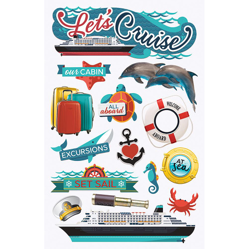 Let's Cruise 3-D Glitter 5 x 7 Scrapbook Embellishment by Paper House Productions