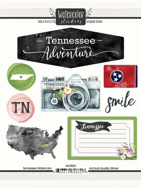 Watercolor Collection Tennessee 6 x 8 Scrapbook Sticker Sheet by Scrapbook Customs