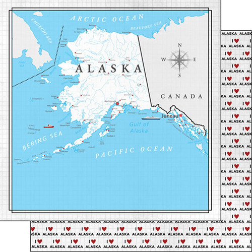 Travel Adventure Collection Alaska Map 12 x 12 Double-Sided Scrapbook Paper by Scrapbook Customs