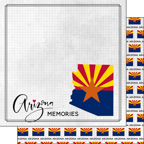 Travel Adventure Collection Arizona Flag 12 x 12 Double-Sided Scrapbook Paper by Scrapbook Customs