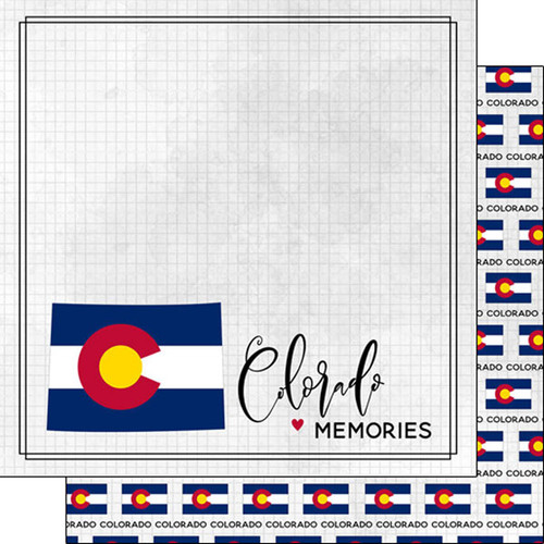 Travel Adventure Collection Colorado Flag 12 x 12 Double-Sided Scrapbook Paper by Scrapbook Customs