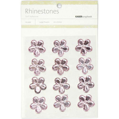 Rhinestone Collection Light Pink Large Scrapbook Flowers by Kaisercraft - 12 Pack