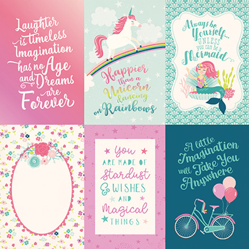 Imagine That Girl Collection 4 x 6 Journaling Cards 12 x 12 Double-Sided Scrapbook Paper by Echo Park Paper