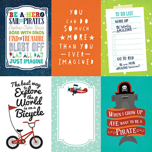 Imagine That Boy Collection 4 x 6 Journaling Cards 12 x 12 Double-Sided Scrapbook Paper by Echo Park Paper