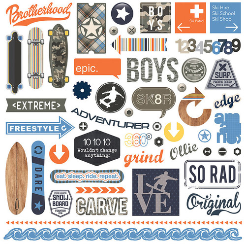 Freestyle Collection 12 x 12 Element Scrapbook Sticker Sheet by Photo Play Paper