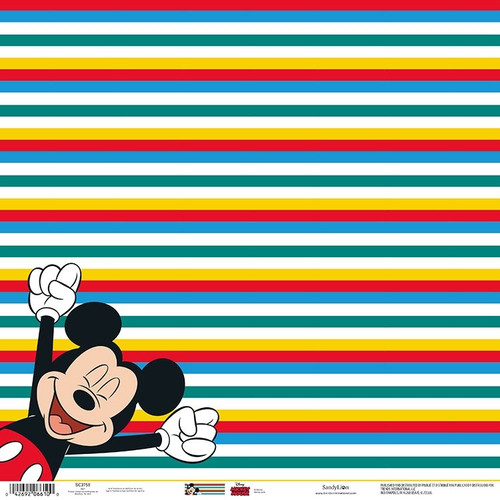 Disney Mickey Mouse Collection Mickey Stripes 12 x 12 Scrapbook Paper by Sandylion