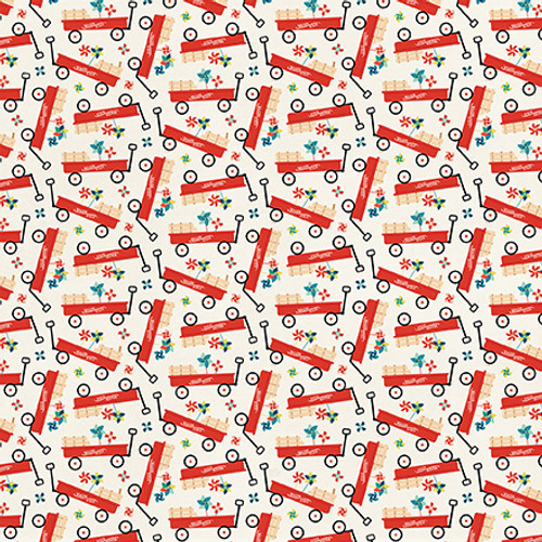 Good Day Sunshine Collection Little Red Wagon 12 x 12 Double-Sided Scrapbook Paper by Echo Park Paper