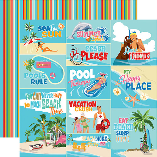 Summer Splash Collection Scene Journaling Cards 12 x 12 Double-Sided Scrapbook Paper by Carta Bella
