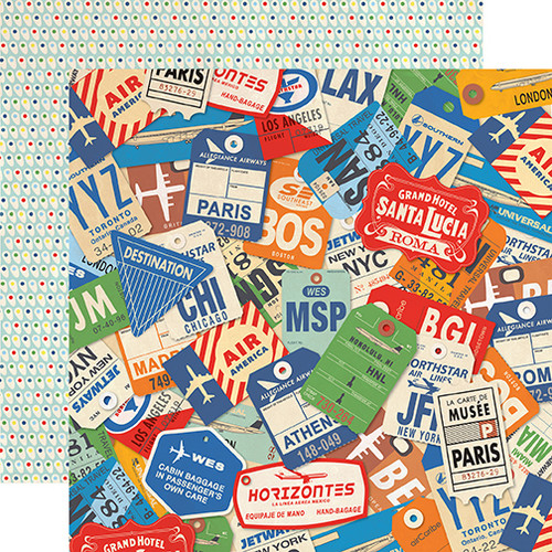 Passport Collection World Traveler 12 x 12 Double-Sided Scrapbook Paper by Carta Bella Paper
