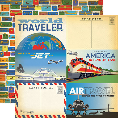 Passport Collection 4X6 Journaling Cards 12 x 12 Double-Sided Scrapbook Paper by Carta Bella Paper