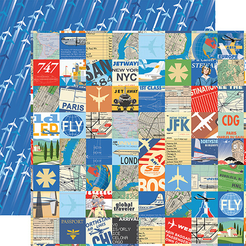 Passport Collection Travel Squares 12 x 12 Double-Sided Scrapbook Paper by Carta Bella Paper