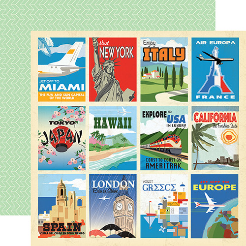 Passport Collection Destination Cards 12 x 12 Double-Sided Scrapbook Paper by Carta Bella Paper