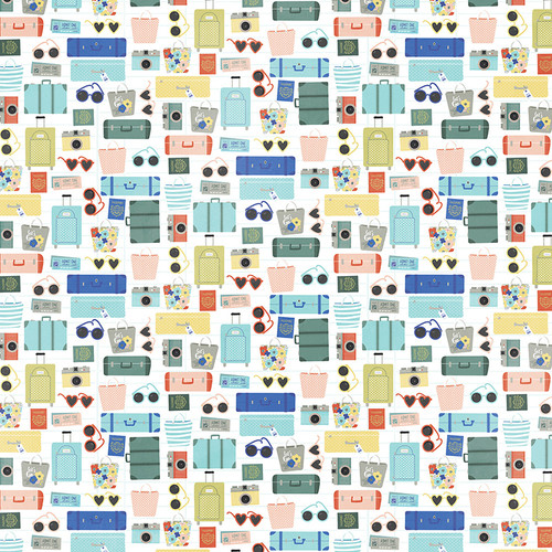Let's Go! Collection Check In 12 x 12 Double-Sided Scrapbook Paper by Photo Play Paper