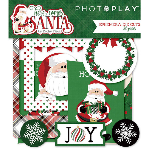 Here Comes Santa Collection 4 x 4 Ephemera Die Cuts by Photoplay Paper