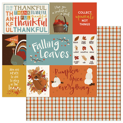 Fall Breeze Collection Thankful 12 x 12 Double-Sided Scrapbook Paper by Photoplay Paper