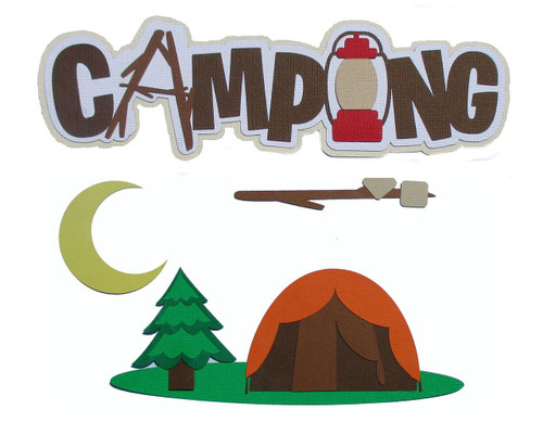Camping 4-Piece Set Fully-Assembled  3 x 8 Laser Cut Scrapbook Embellishment by SSC Laser Designs (original design by Miss Kate Cuttables)