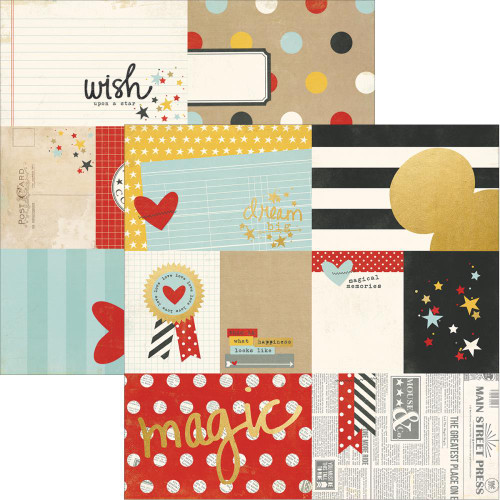 Say Cheese II Collection 3 x 4 and 4 x 6 Gold Foiled Elements 12 x 12 Double-Sided Scrapbook Paper by Simple Stories