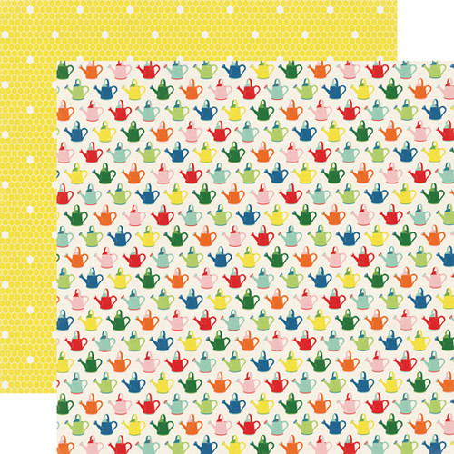 Homegrown Collection Watering Cans 12 x 12 Double-Sided Scrapbook Paper by Echo Park Paper