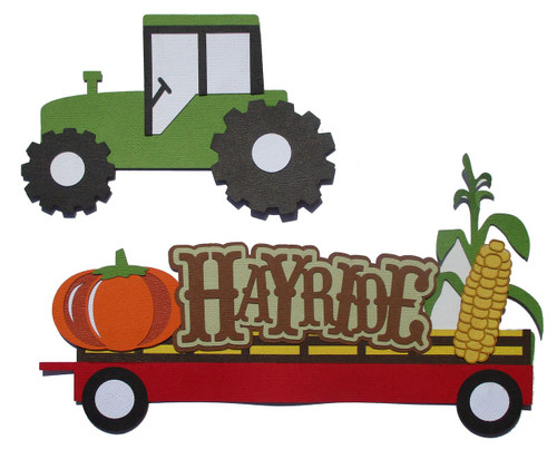 Hayride Title 5 x 9  & Tractor 2-Piece Set Fully-Assembled Laser Cut Scrapbook Embellishment by SSC Laser Designs