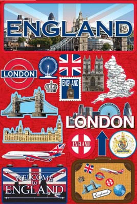 Jet Setters 2 Collection England Scrapbook Embellishment by Reminisce