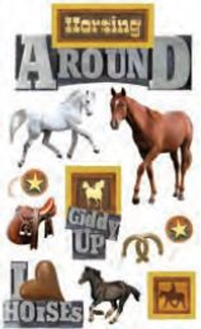 Cowboy Collection Horsing Around 3-D Stickers by Paper House Productions