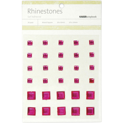 Hot Pink Rhinestone Self-Adhesive Mixed Squares by Kaisercraft