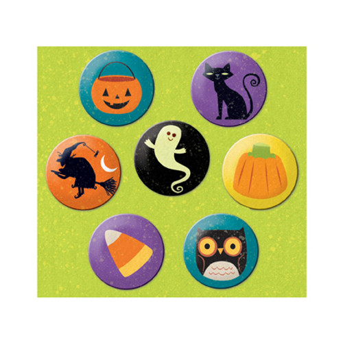 Halloween Whimsy Collection Metal Art Button Pins by K & Company - Pkg. of 7