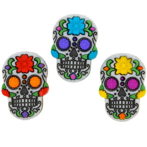 Dress It Up Collection Day of the Dead Sugar Skulls Scrapbook Buttons by Jesse James Buttons