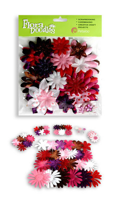 Flora Doodles Collection Love You Fabric & Glitter Daisies by Petaloo - Pkg. of 50