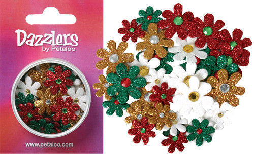 Green Red White & Gold Glitter Dazzlers Florettes by Petaloo - Pkg. of 32