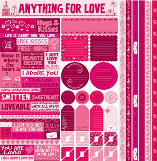Anything For Love Collection Die Cut Combo 12 x 12 Sticker Sheet by Reminisce