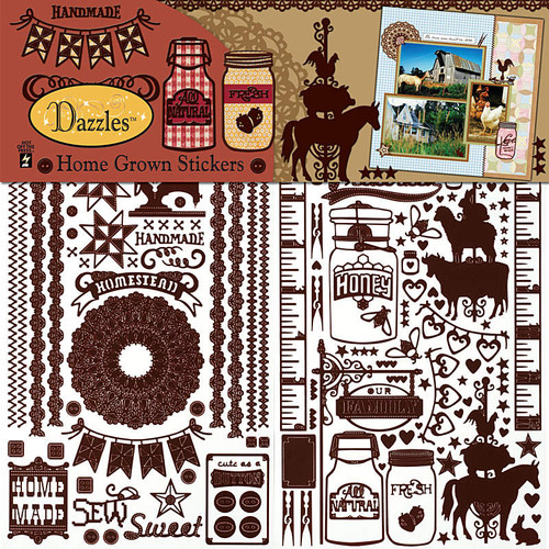 Dazzles Collection Home Grown 12 x 12 Sticker Sheet by Hot Off The Press