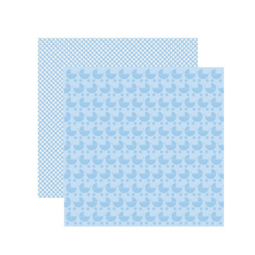 Baby Basics Collection Baby Boy Pram Double-Sided Shimmer 12 x 12 Scrapbook Paper by Reminisce