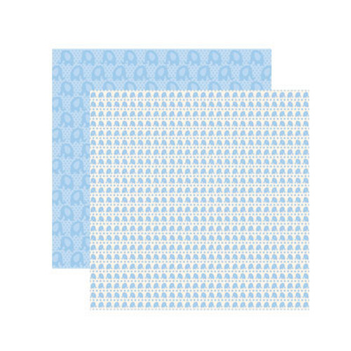 Baby Basics Collection Baby Boy Elephant 12 x 12 Double-Sided Shimmer Scrapbook Paper by Reminisce