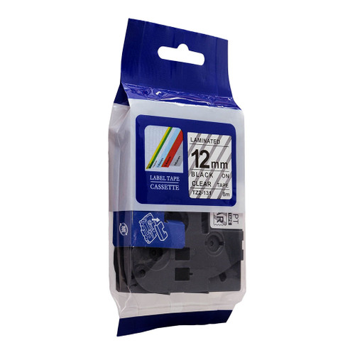 Brother Compatible TZ Tape 12mm Black on Clear