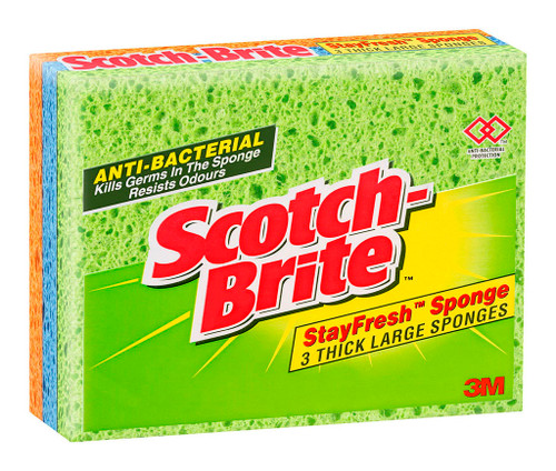 3M Scotch-Brite Stayfresh Sponge Lge Thick 3Pk