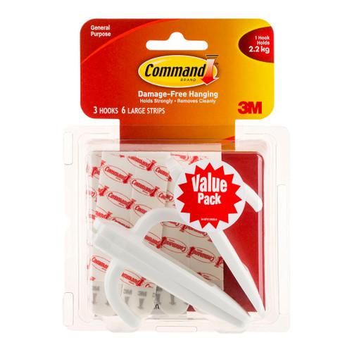 3M Command Hook 17003-VP-3PK Value Pack White