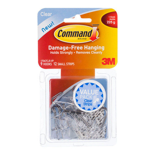 3M Command Hook 17067CLR-VP Small Clear With Clear Strips Pkt/12