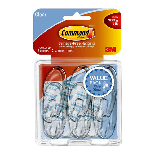 3M Command Hook 17031CLR-VP Medium Clear Pack 2 Value Pack 4 Clear Strips