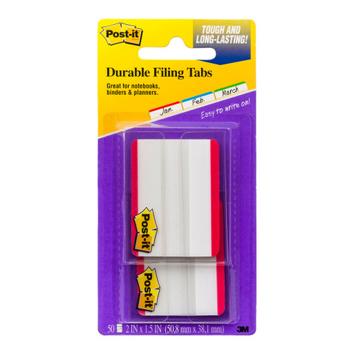 3M Post-It Durable Filing Tab 686F-50RD Red Twin Pack