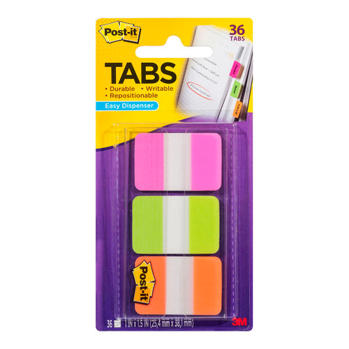 3M Post-It Durable Index Tabs 686-PGOT Pink Green Orange 25X38mm
