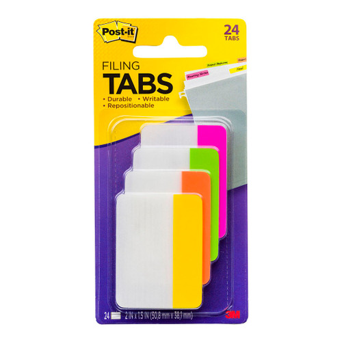 3M Post-It Filing Tab Durable 686-PLOY Pink Lime Orange Yellow Straight 50mm